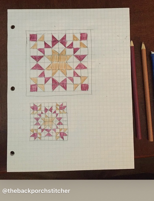 Quilted Grad Cap planning on graph paper