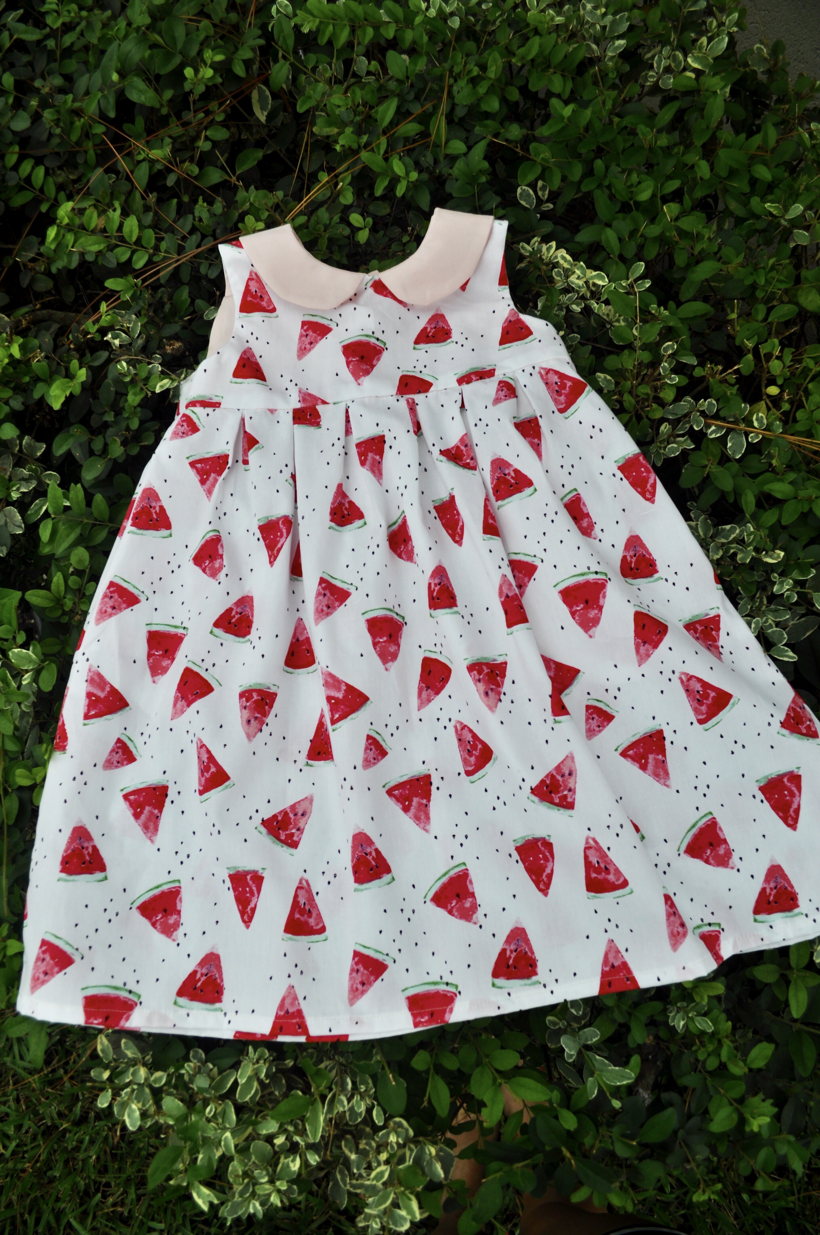 homemade girls dress, geranium dress, art gallery fabrics