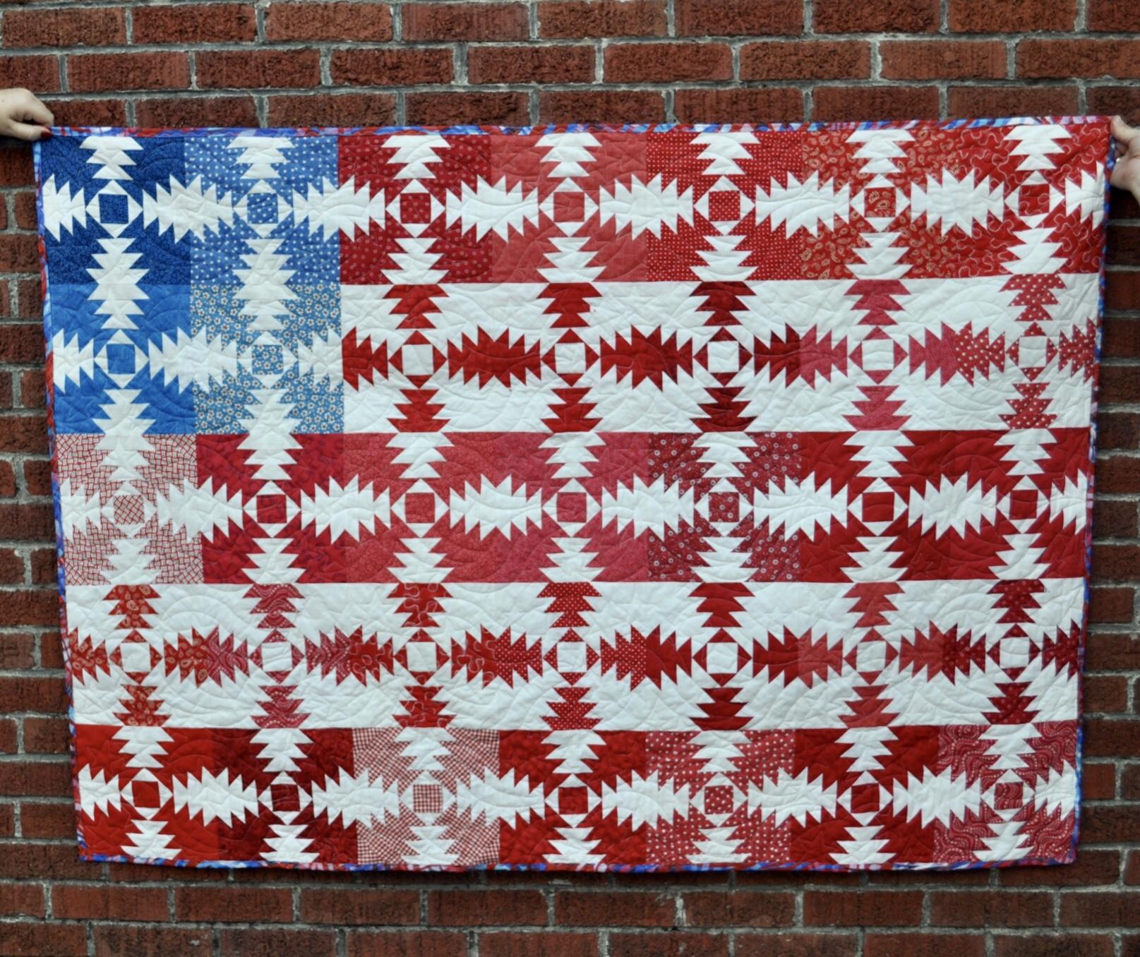 Patriotic quilts using AccuQuilt Pineapple die