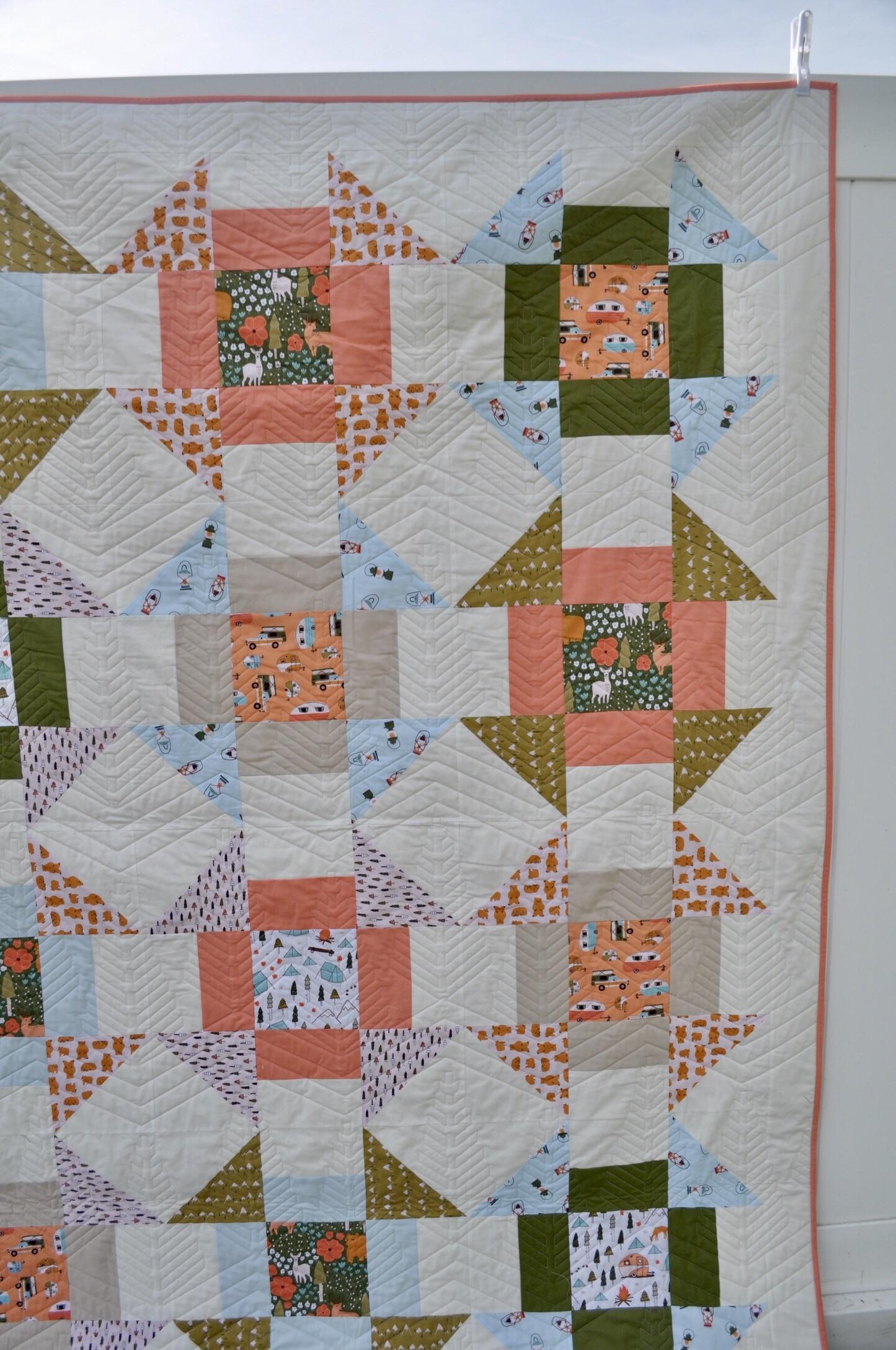 Free Quilt Pattern Vintage Camping Churn Dash