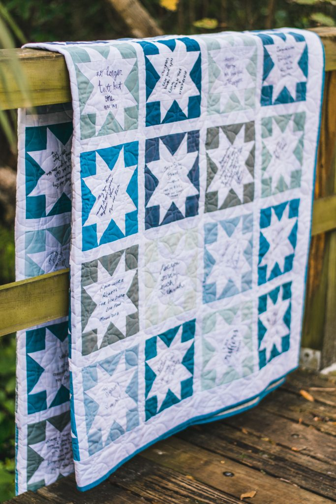 Memory Quilt filled with notes from family and friends