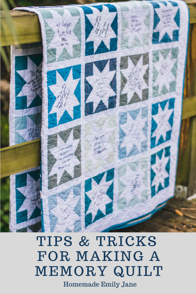 Tips and Tricks for Making a Signature Memory Quilt by Homemade Emily Jane
